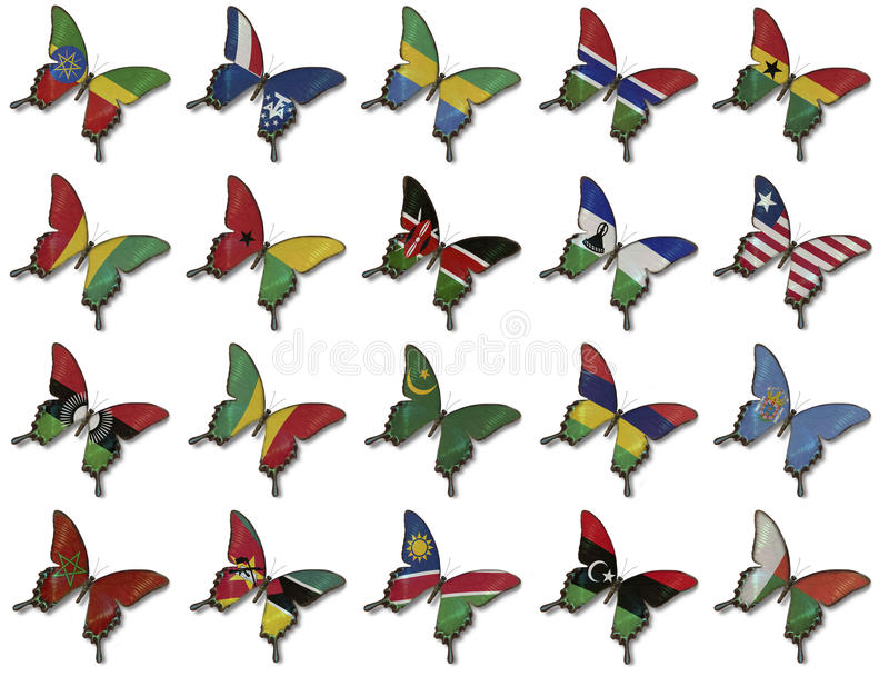 Download Collage From African Flags On Butterflies Stock Image - Image: 25561753
