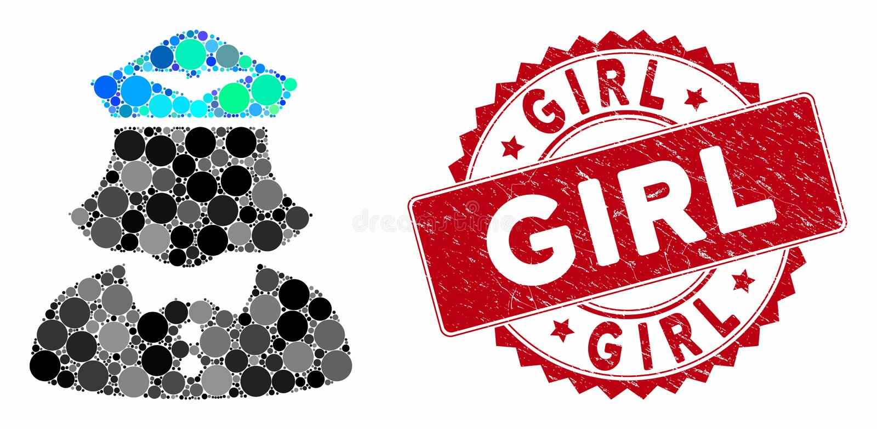 Collage Airline Stewardese com Grunge Girl Seal ilustração stock