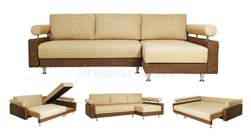 Collage aislado del sofá sobre blanco stock de ilustración