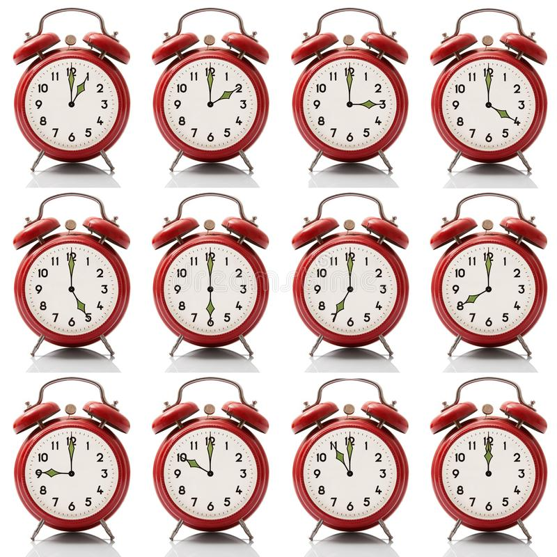 Collage alarm clock at every hour on white background. Isolated collage alarm clock at every hour on white background vector illustration