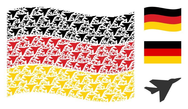 Collage allemand de ondulation de drapeau des articles d'Intercepter d'avion illustration stock