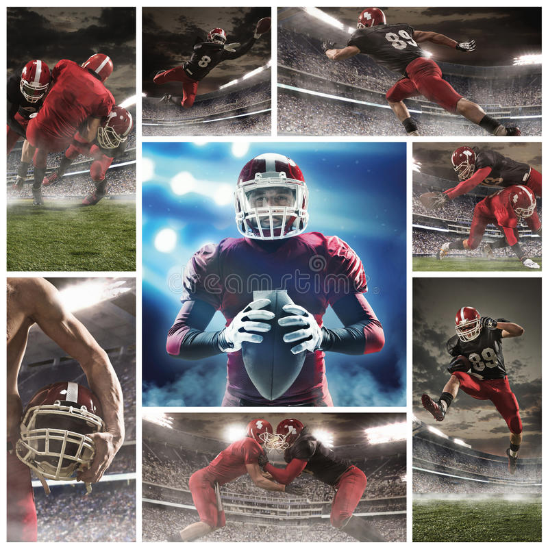 The collage about american football players stock photo