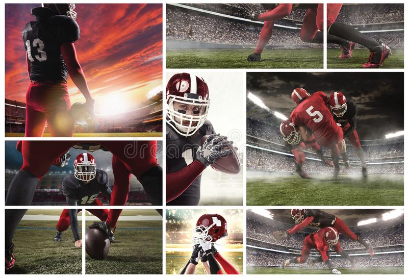 The collage about american football players stock photos