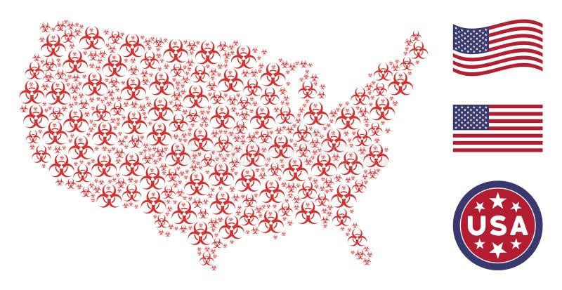 Collage americano della mappa del rischio biologico illustrazione vettoriale