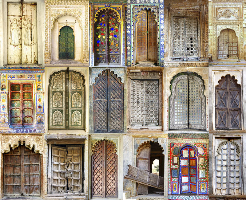Collage of the ancient Indian doors stock photo