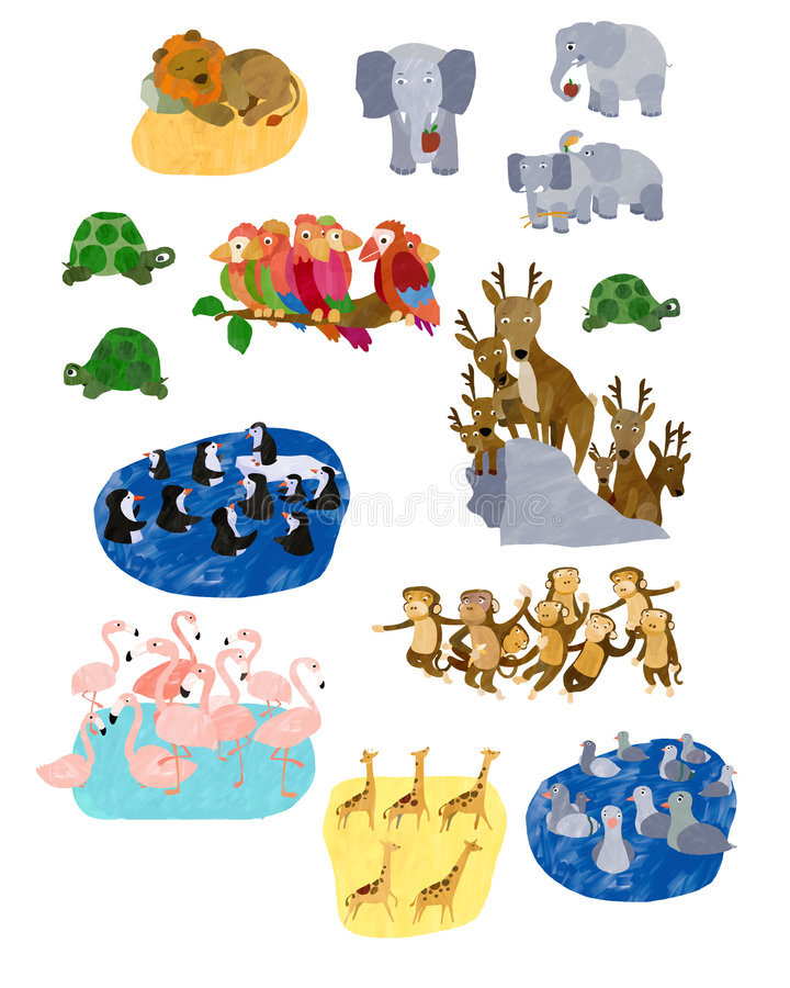 Collage animale illustrato royalty illustrazione gratis