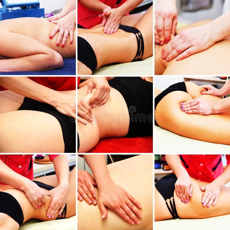 Collage. Anti-cellulite hand massage. Body care. Non surgical body sculpting. Anti-cellulite and anti-fat therapy in beauty salon. Collage. Anti-cellulite hand royalty free stock photos