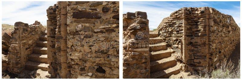 Collage antiguo de la pared de los pasos de la piedra del sótano fotos de archivo