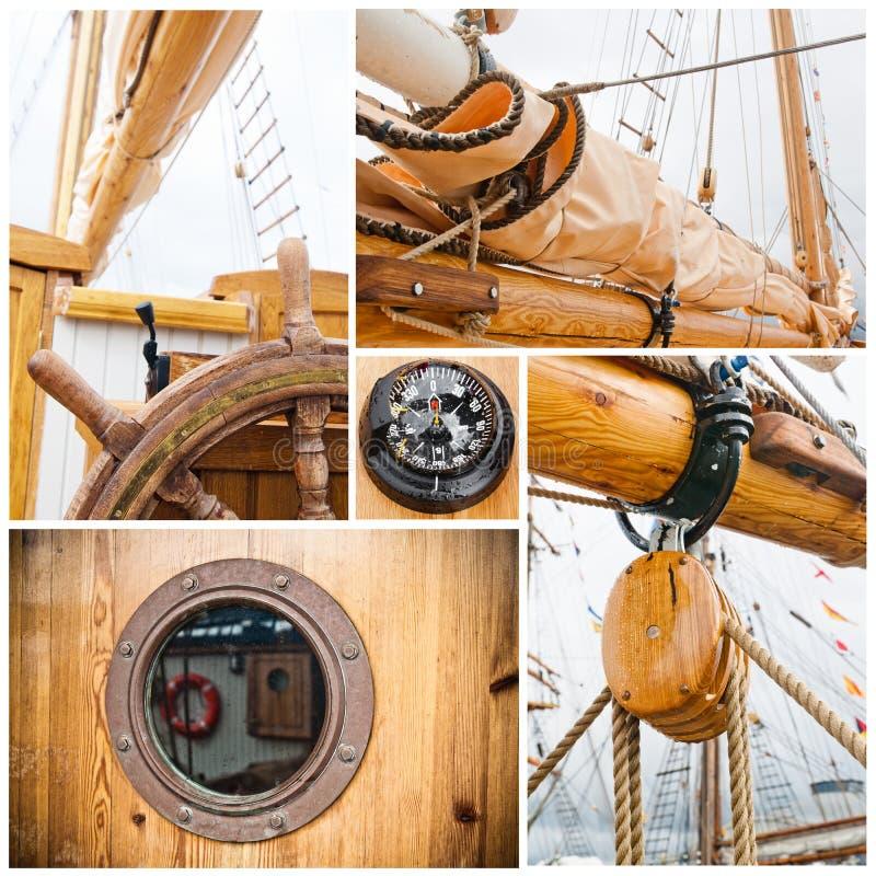 Collage antique de récipient de navigation image stock