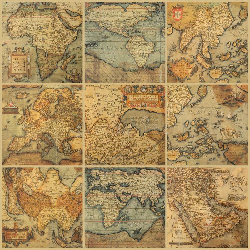 Collage with antique maps stock images