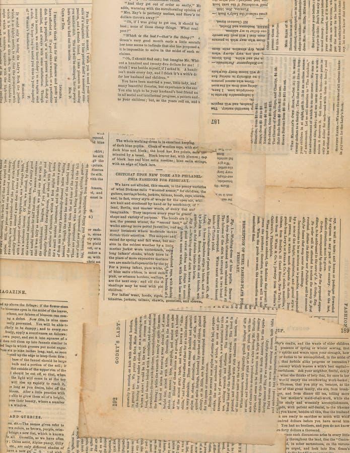 Collage antique sale de papier de journal photographie stock