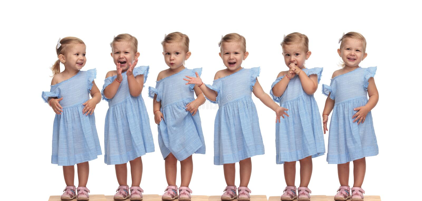 Collage arrangement of an adorable little girl in blue dress stock photos