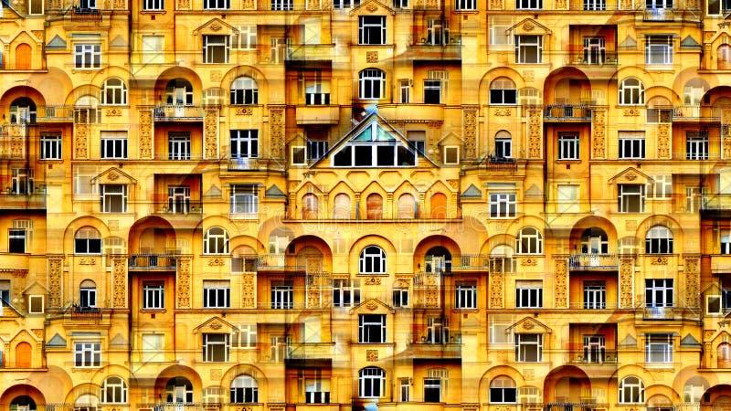 Collage artístico de ayuda de computadora del detalle exterior con muchas ventanas y balcones ilustración del vector