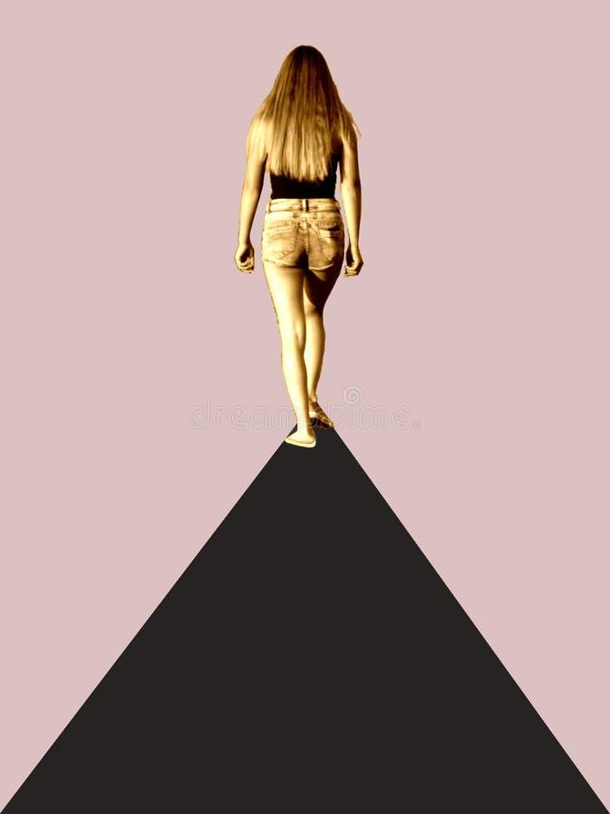 Collage artistico della ragazza che cammina fuori da un tappeto nero royalty illustrazione gratis