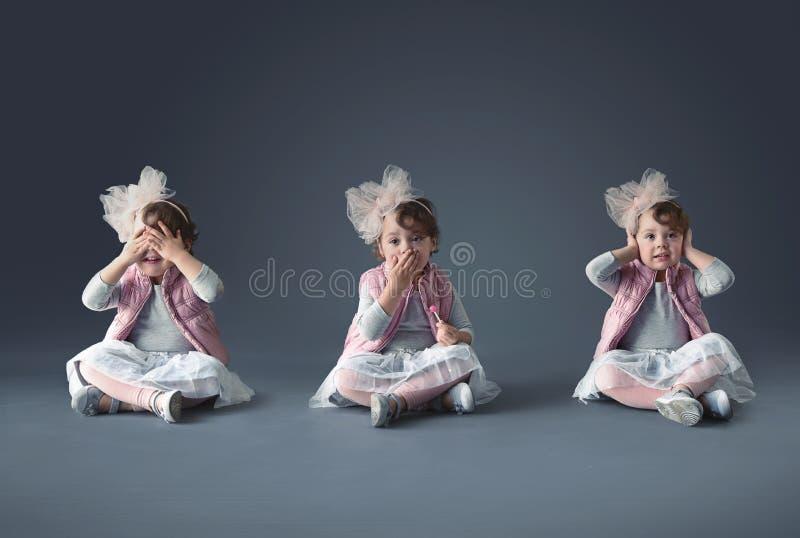 Collage artistico di concetto della bambina sveglia immagini stock libere da diritti