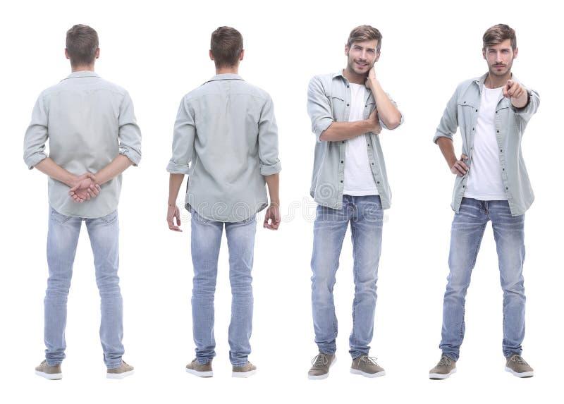 Collage arts en jonge die mens op wit wordt geïsoleerd stock foto