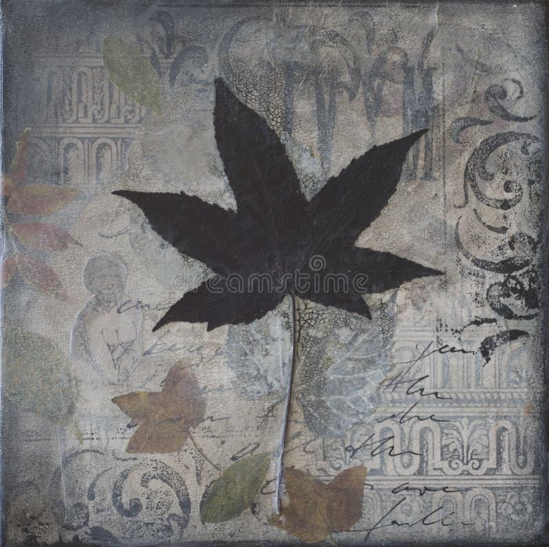 Collage artwork with leaf royalty free illustration