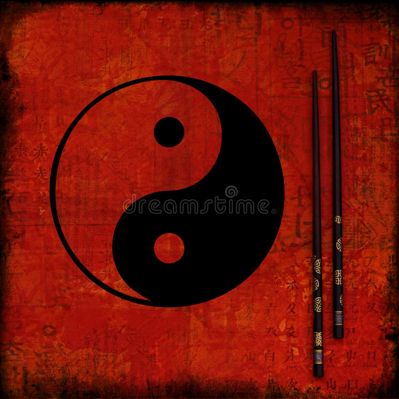 Collage artwork ying yang. Collage with hand painted and digital elements, yin yang symbol stock illustration