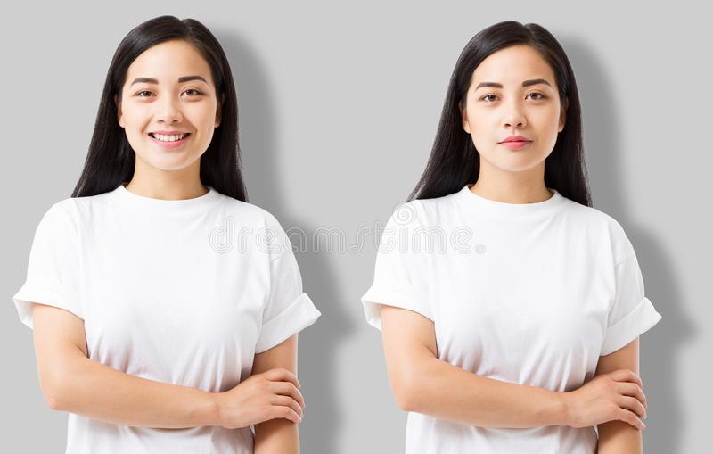 Collage of asian girl in blank template t shirt isolated on gray background. Young woman in tshirt with copy space and mock up royalty free stock photos