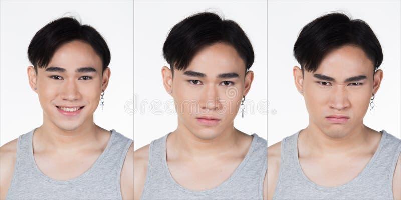 Collage asiatique de yeux de cheveux noirs d'homme de mode photographie stock