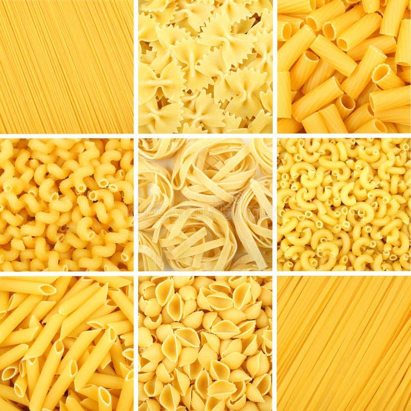 Collage assorti de fond de pâtes image stock