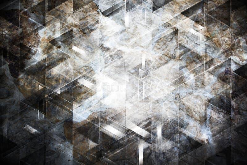 Collage astratto con gli elementi di tecnologia e la struttura di pietra royalty illustrazione gratis