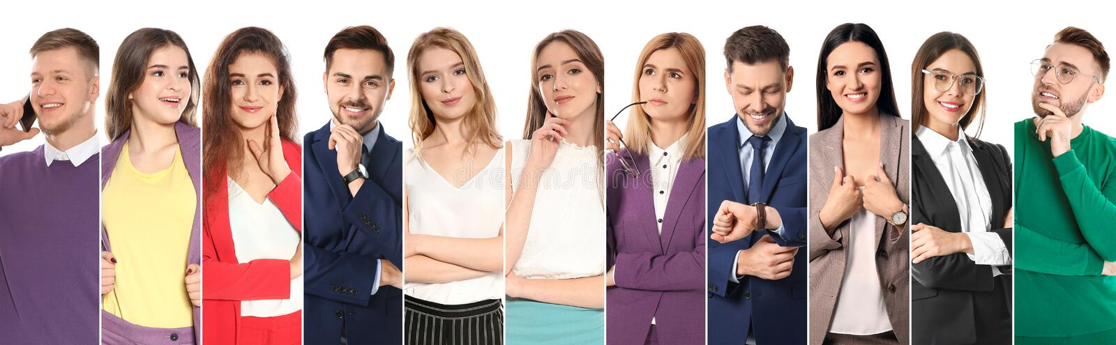 Collage of attractive people on white background. Banner design stock photo