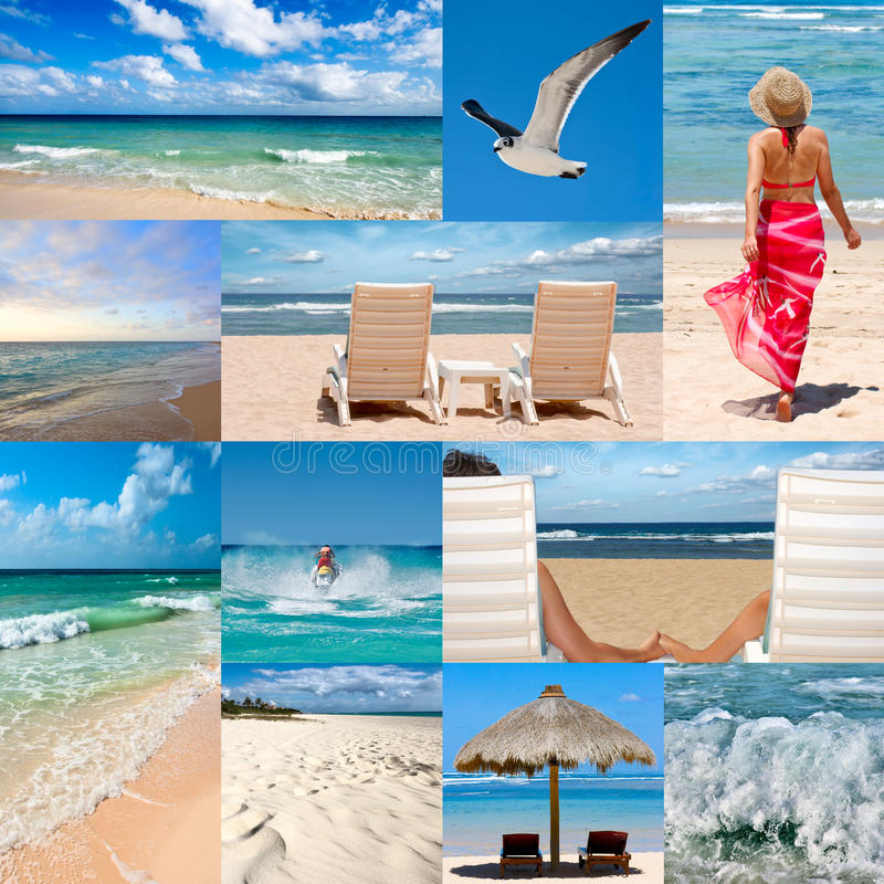 Collage au sujet des vacances de plage images stock