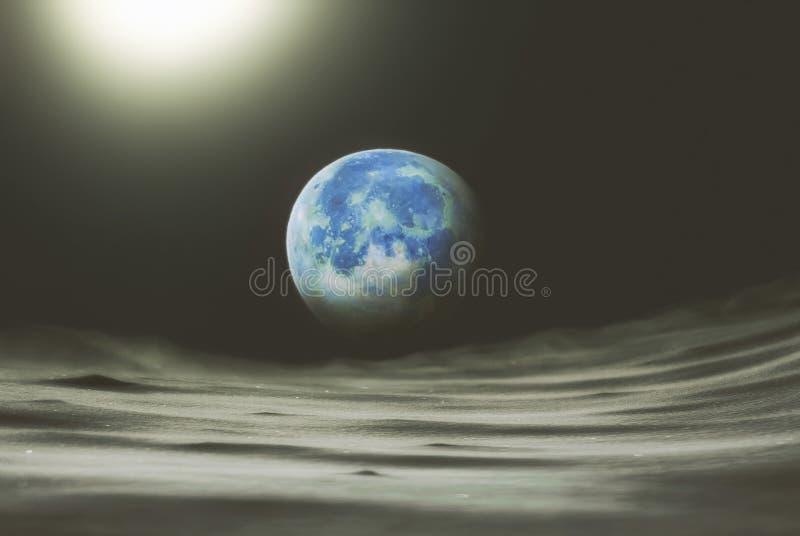 Collage auf dem Thema: sperren Sie Ansicht vom Mond zur Planetenerde lizenzfreie stockfotos