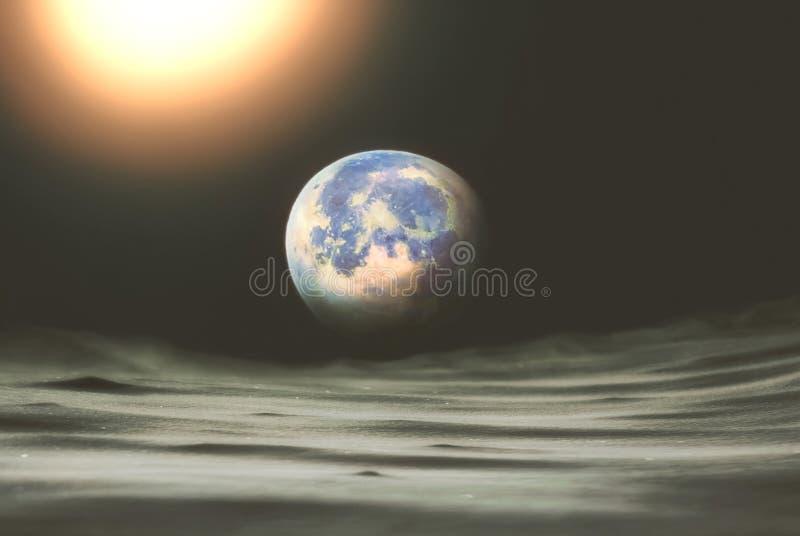 Collage auf dem Thema: sperren Sie Ansicht vom Mond zur Planetenerde lizenzfreies stockfoto