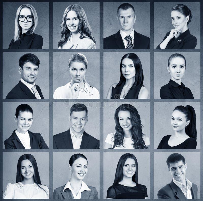 Collage av affärsfolk i fyrkant fotografering för bildbyråer