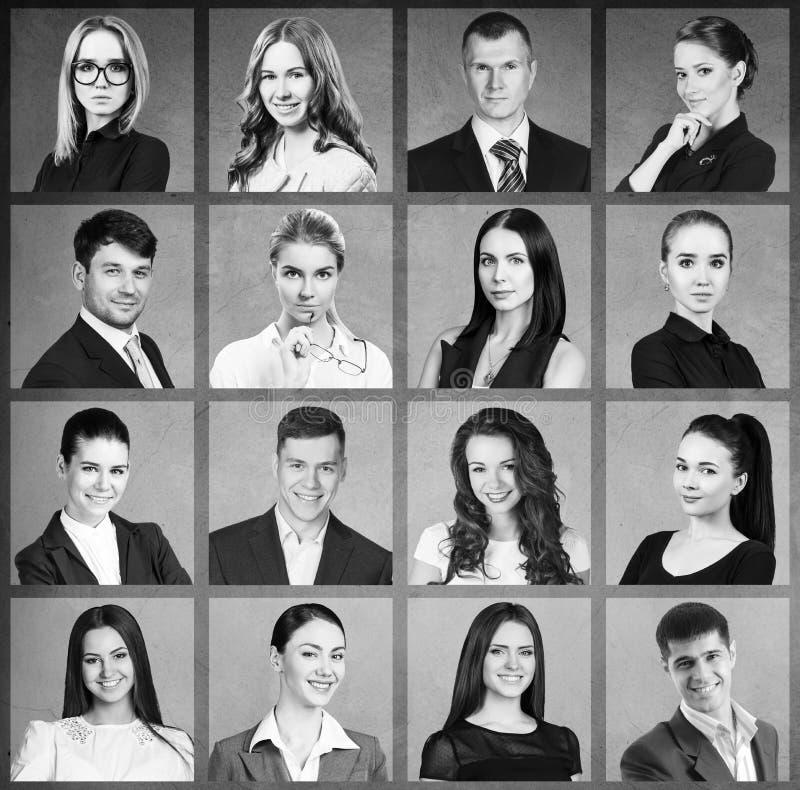 Collage av affärsfolk i fyrkant royaltyfria foton