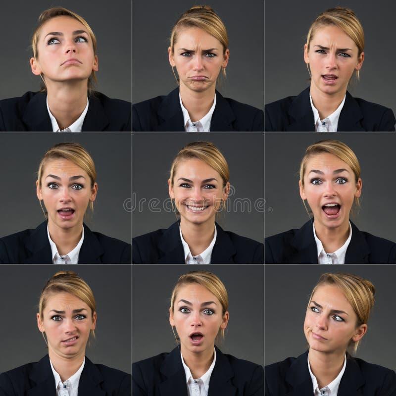 Collage av affärskvinnan With Different Expressions royaltyfri fotografi