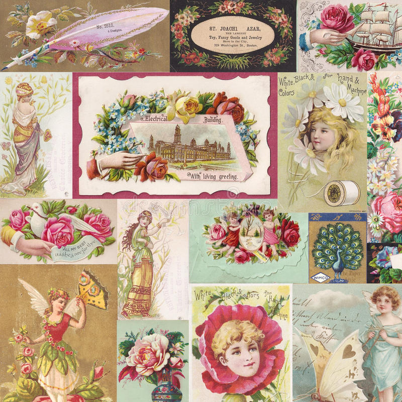 Collage av antika victorianhandelkort med blommor och feer royaltyfri illustrationer