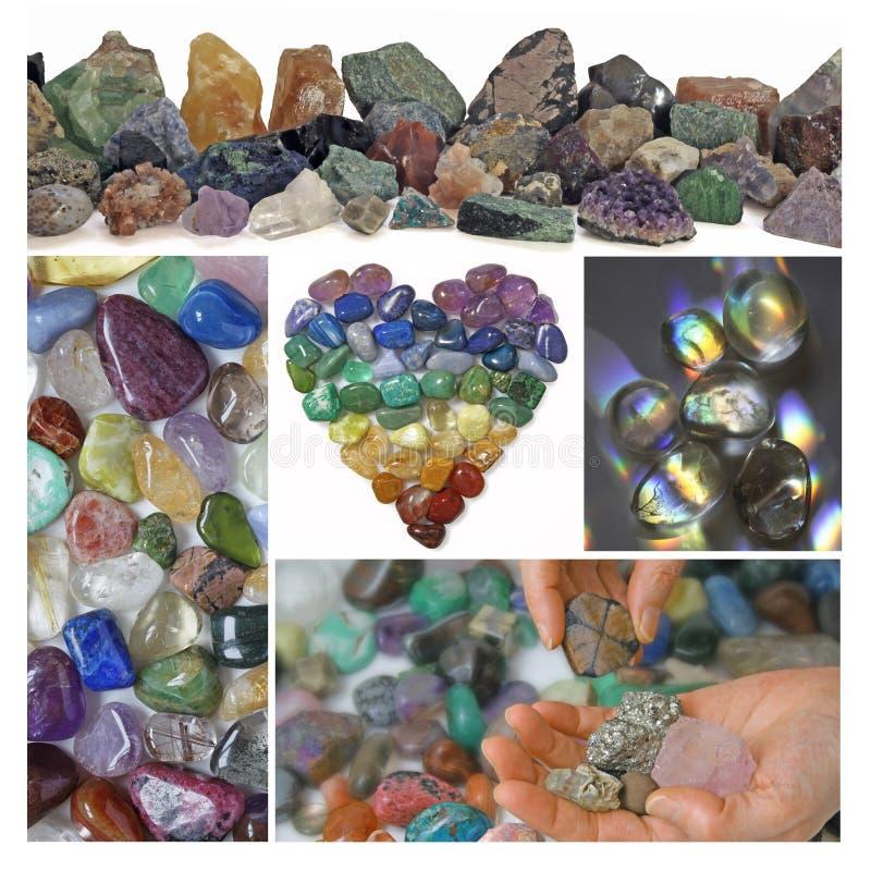 Collage av att läka kristaller arkivbild