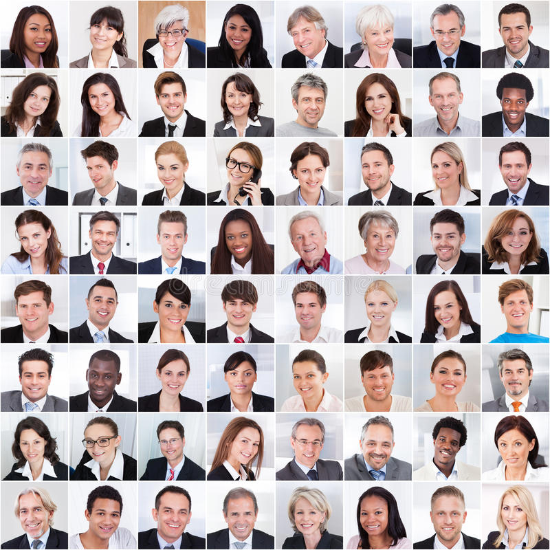 Collage av att le för affärsfolk arkivfoton