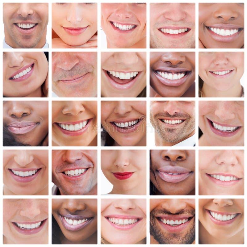 Collage av att le för folk royaltyfria foton