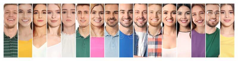 Collage av att le folk, closeup royaltyfri bild