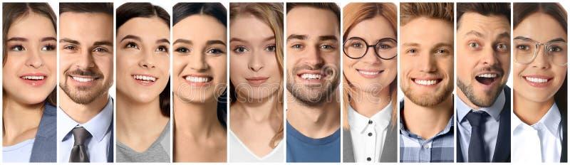 Collage av att le folk, closeup fotografering för bildbyråer