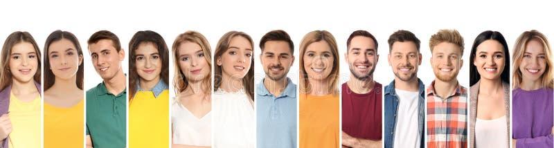 Collage av att le folk på vit bakgrund royaltyfri bild