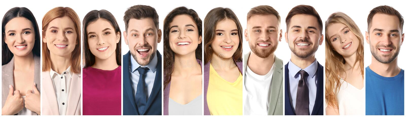 Collage av att le folk på vit bakgrund royaltyfri foto