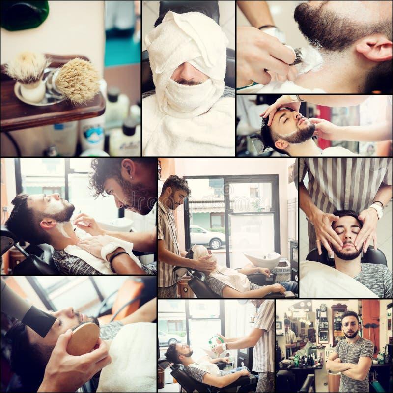 Collage av att raka skägget i en barberare för gammal stil shoppar royaltyfri bild