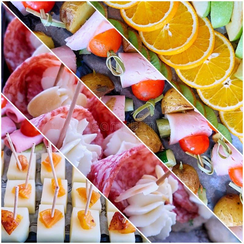 Collage av att sköta om mat med kött, ost och frukter royaltyfri fotografi