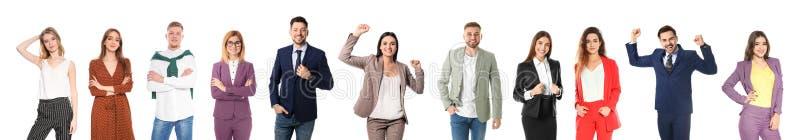 Collage av attraktivt folk på vit bakgrund royaltyfri bild
