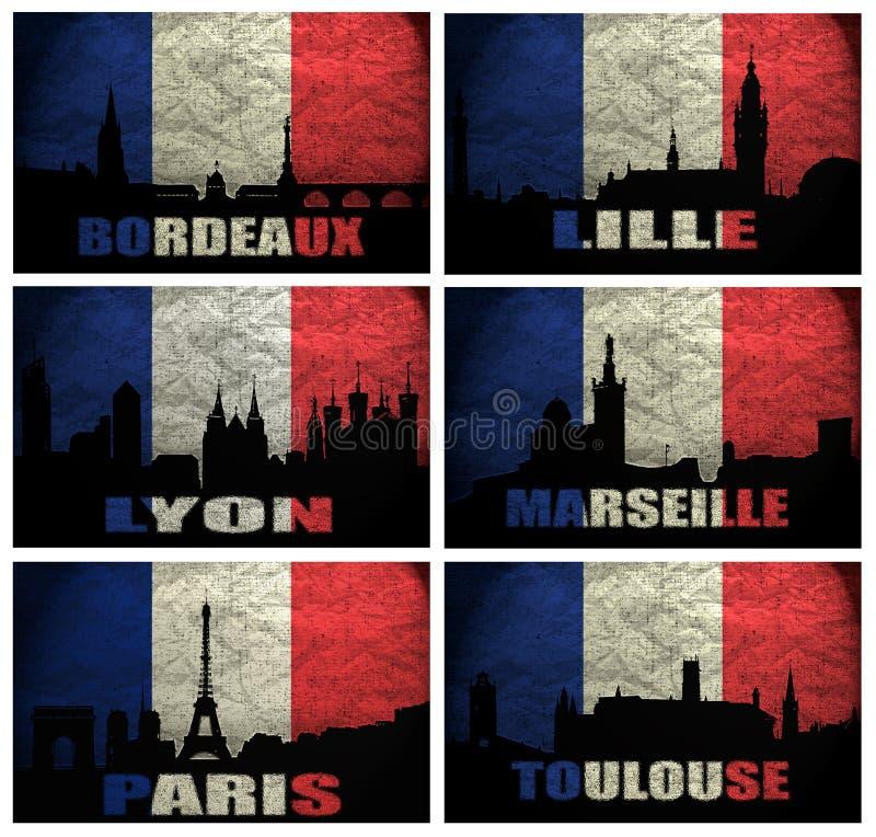 Collage av berömda franska städer vektor illustrationer