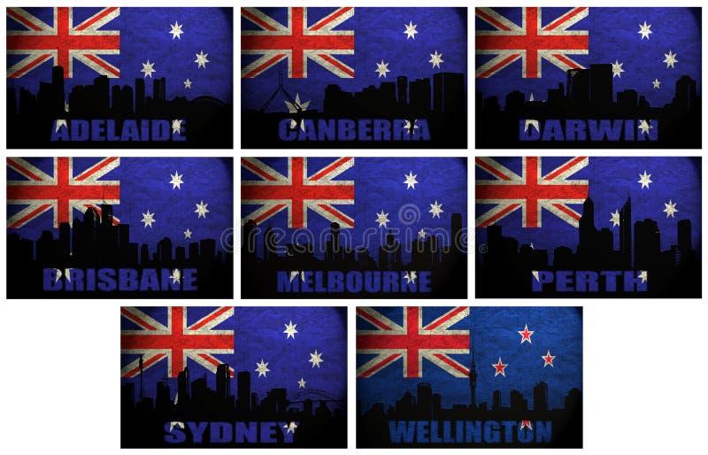 Collage av berömda Oceanian städer vektor illustrationer