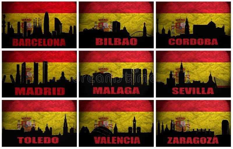 Collage av berömda spanska städer vektor illustrationer