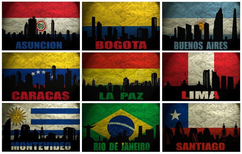 Collage av berömda Sydamerika städer stock illustrationer
