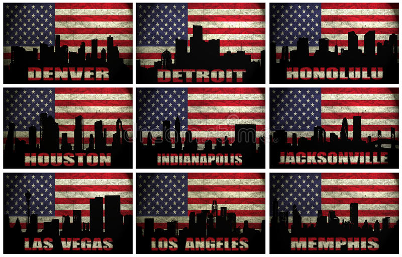 Collage av berömda USA städer från D till M vektor illustrationer