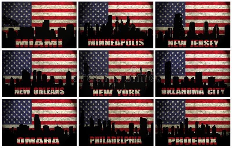 Collage av berömda USA städer från M till P royaltyfri illustrationer